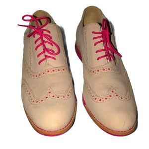 Cole Haan tan and pink Oxford vintage shoes 7.5